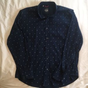 NWOT Under Armour navy blue shirt with pattern 2XL